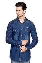 Fasnoya Men's Slim Fit Denim Shirt - S