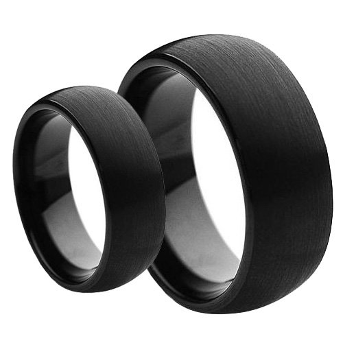 6MM Black Brushed Finish Domed Tungsten Carbide Wedding Band Ring Set