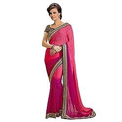 Resham Fabrics Pink Satin Chiffon Saree