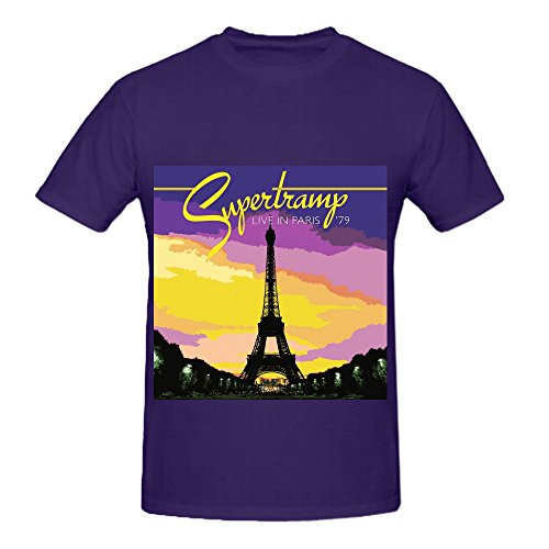 Supertramp Live In Paris 79 Tour 80s Men O Neck Cool Shirt Purple