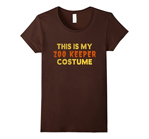 [Women's Halloween Shirt - This is My Zoo Keeper Costume Large Brown] (Zookeeper Costumes For Womens)