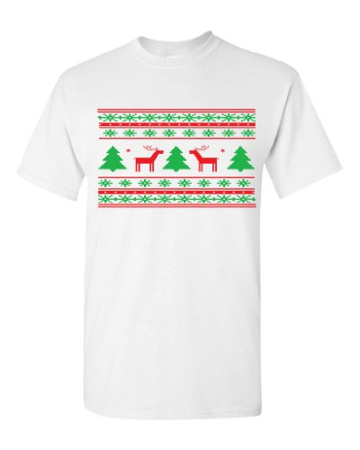 Festive Threads Ugly Christmas Sweater (Deer Design) Adult T-Shirt (White, 3X-Large)
