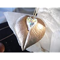 Metal Leaf with 12mm Swarovski Rainbow Heart Crystal Ornament (Antique gold)