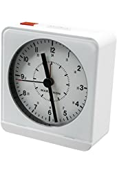 MARATHON CL030053WH Analog Desk Alarm Clock With Auto-Night Light - Batteries Included