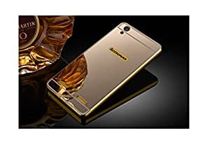 Lenovo A6000 Luxury Aluminium Bumper With Mirror Acrylic Back Cover - Gold