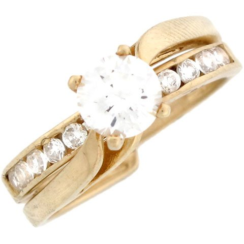14k Yellow Gold Beautiful CZ Engagement Ring with Channel Set Accents