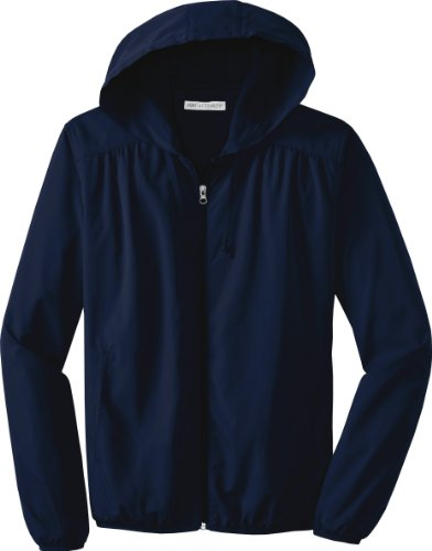 Port Authority - Ladies Hooded Essential Lightweight Windbreaker Jacket. L305,Xxx-Large,True Navy