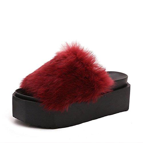 JIAJIA Tempo libero-coniglio torta pesante di fondo Mao Maonv pantofole pantofole casa scarpe antiscivolo caldo in autunno e inverno 35 36 37 38 39 40 41 42 43 44 45 46 47 2 3 4 5 6 7 8 9 10 , red , 37