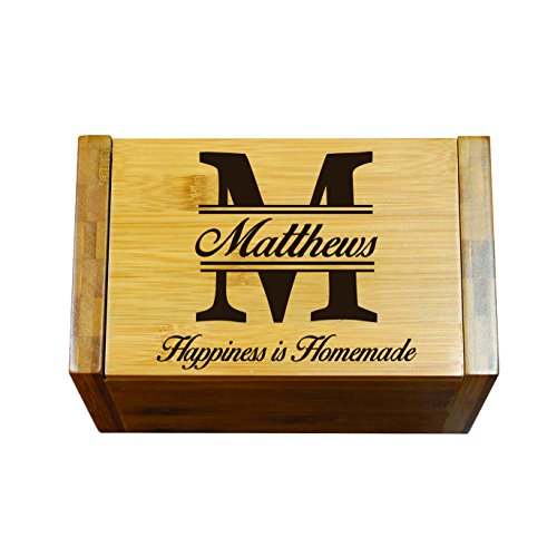 Engraved Recipe Box 4x6 Card Holder - Personalized Custom Gifts For Mom - Kitchen Cooking Gift 6