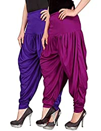 Navyataa Women's Lycra Dhoti Pants For Women Patiyala Dhoti Lycra Salwar Free Size (Pack Of 2) Voilet & Purple