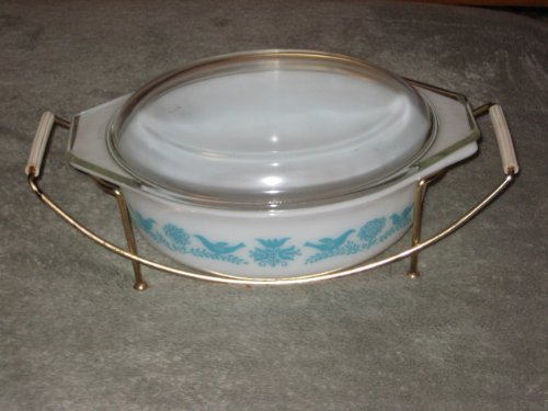 RARE Vintage 1959-61 Pyrex Turquoise Bluebird Promotional 1 1/2 Quart Covered Oval Casserole w/ Cradle USA