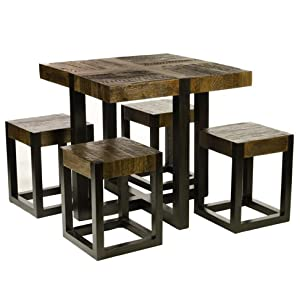 Rustic Wood Square Dining Room Table With 4 Stools BATAVIA Home