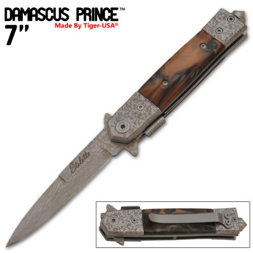 7 Inch Damascus Prince Style Spring Assisted Knife - Brown