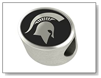 Michigan State University MSU College Jewelry and Bead Fits Most Pandora Style Bracelets. High Quality Bead in Stock for Immediate Shipping