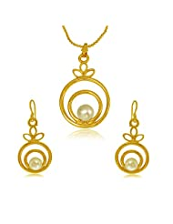 Surat Diamonds Fancy Round Shape Button Pearl & Gold Plated Pendant With Chain & Earring Set For Women (SDS145...