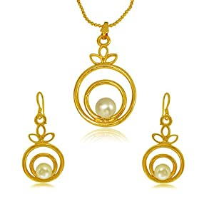 Surat Diamonds Fancy Round Shape Button Pearl amp; Gold Plated Pendant with chain amp; Earring Set for Women (SDS145) available at Amazon for Rs.399