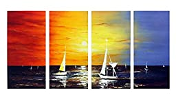 Wieco Art - Sailing 100% Hand-painted Oil Paintings Modern Canvas Wall Art for Home Decoration Seascape Oil Paintings on Canvas 4pcs/set 16x32inchx4pcs