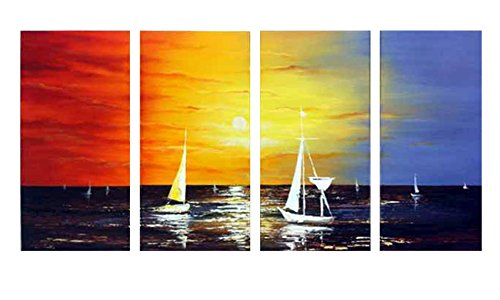 Wieco Art - Sailing Modern 4 Panels 100% Hand Painted Stretched and Framed Seascape Oil Paintings on Canvas Wall Art Ready to Hang for Living Room Bedroom Home Office Decorations (Nautical Paintings compare prices)
