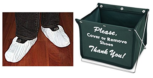 Shoe Cover Kit (20 pairs of white shoe covers PLUS 1 shoe cover holder) (Green) (Shoe Cover Holder compare prices)