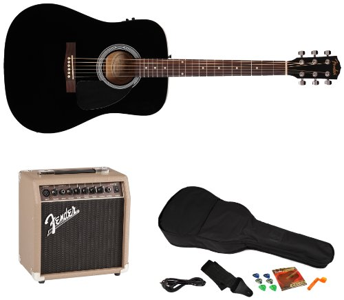 Fender Fa-200 Acoustic-Electric Guitar Pack With Acoustasonic 15 Amp And Rock Prodigy Instructional Software, Black