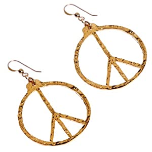 Hand Hammered Delicate Peace Symbol Gold-dipped Earrings on French Hooks