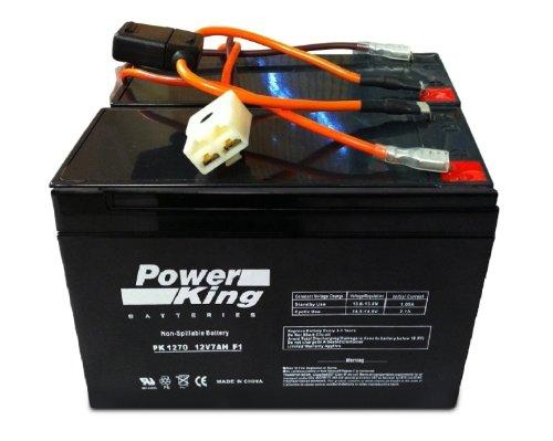 Razor 12 Volt 7Ah Electric Scooter Batteries High Performance - Set Of 2 Includes New Wiring Harness Fits: Razor Pocket Mod (Bella, Betty, Bistro, Daisy, Hannah Montana, Kiki, Sweet Pea, & Vapor)