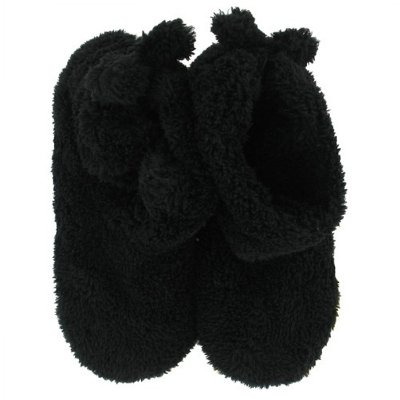 Image of Womens Ultra-Plush Black Bootie Style Slippers Isotoner Booties (B005MGR1H2)