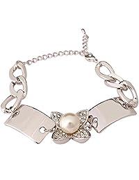 Super Drool Pearl And Crystal Embellished Silver Flower Bracelet