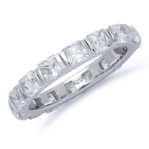 Sterling Silver Princess Cut CZ Eternity Band Sizes 4 to 11, 7
