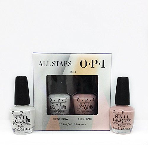 OPI All Stars Mini 2-Pack- Duo # 1-OPI Mini Nail Lacquers -0.125 Fl. Oz Alpine Snow & Bubble Bath Bath Duo