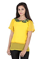 Ethnic For You Mango Yellow Georgette Top