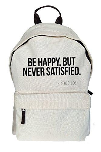 Be Happy But Never Satisfied Bruce Lee Citazione Stampa Zaino casuale Beige Borsa Sacchetto