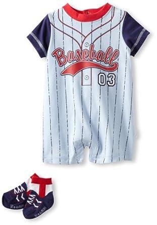 Vitamins Baby-Boys Newborn Baseball Romper Sock Set, Blue, 3 Months