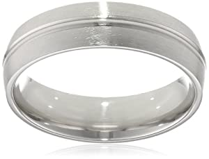Men's Platinum 6mm Comfort Fit Satin Finished Plain Wedding Band with High Polished Center Groove, Size 10