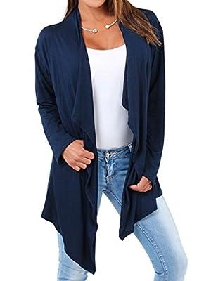 Choies Women Blue Draped Asymmetric Lightweight Thin Cardigan Coat Open Front Outwear S
