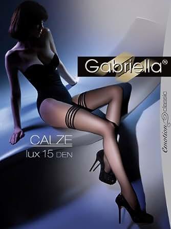 Gabriella Femmes Bas pour Porte-Jaretelles GB-202 15 DEN (Blanc, 1/2 (32-38))