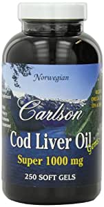 Carlson Super 1000mg Cod Liver Oil, 250 Softgels