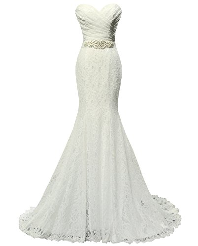 Solovedress Women's Lace Wedding Dress Mermaid Evening Dress Bridal Gown with Sash (Us 2, Ivory)