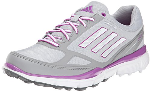 adidas Women's W Adizero Sport III Golf Shoe, Clear Onix/Running White/Flash Pink, 8.5 M US