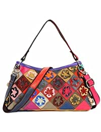 Women Genuine Leather Flower Design Handbags Elegant Patchwork Crossbody Bag