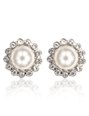 M&S Collection Pearl Effect Diamanté Bezel Floral Stud Earrings