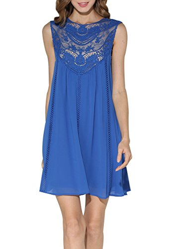 Women Floral Lace Chiffon Splicing Loose Casual Mini Sleeveless Cocktail Dress