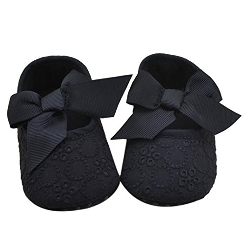 DZT1968® Baby Girl Soft Sole Bowknot Shoes Prewalker Sneakers (6~12 Months, Black)