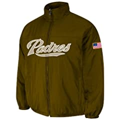 San Diego Padres Brown Authentic Double Climate On-Field Jacket by Majestic by Majestic