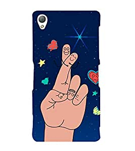 Cute Finger Drawing 3D Hard Polycarbonate Designer Back Case Cover for Sony Xperia Z3 :: Sony Xperia Z3 D6653 D6603