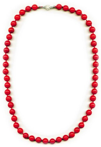 10mm beads long Coral Necklace