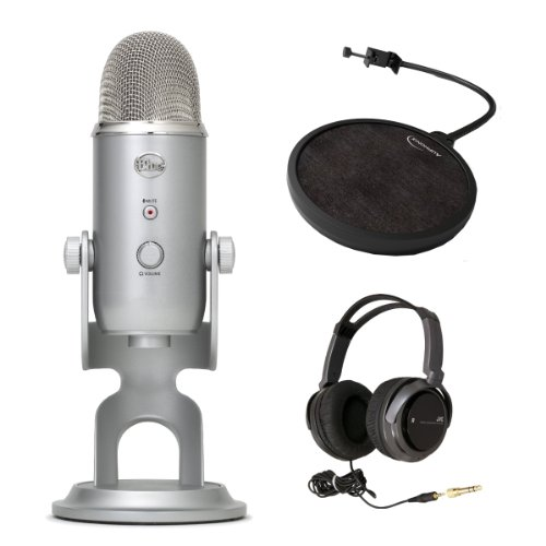 Blue Microphones Refurbished Yeti Usb Microphone With Auphonix Pop Filter For Yeti Microphone & Jvc Full-Size Stereo Headphones