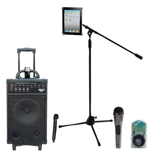 Pyle Speaker, Mic, Stand And Cable Package - Pwma860I 500W Vhf Wireless Portable Pa System /Echo W/Ipod Dock - Pdmik2 Professional Moving Coil Dynamic Handheld Microphone - Pmkspad1 Multimedia Microphone Stand With Adapter For Ipad 2 (Adjustable For Compa