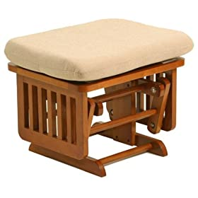 Stork Craft Matching Ottoman For Traditional Glider in Cognac With Beige Cushion