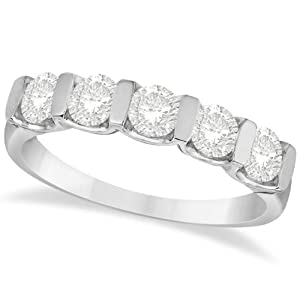 Allurez 1.00ctw Classic Bar Set Five Stone Diamond Ring Anniversary Band 18k White Gold 7.25